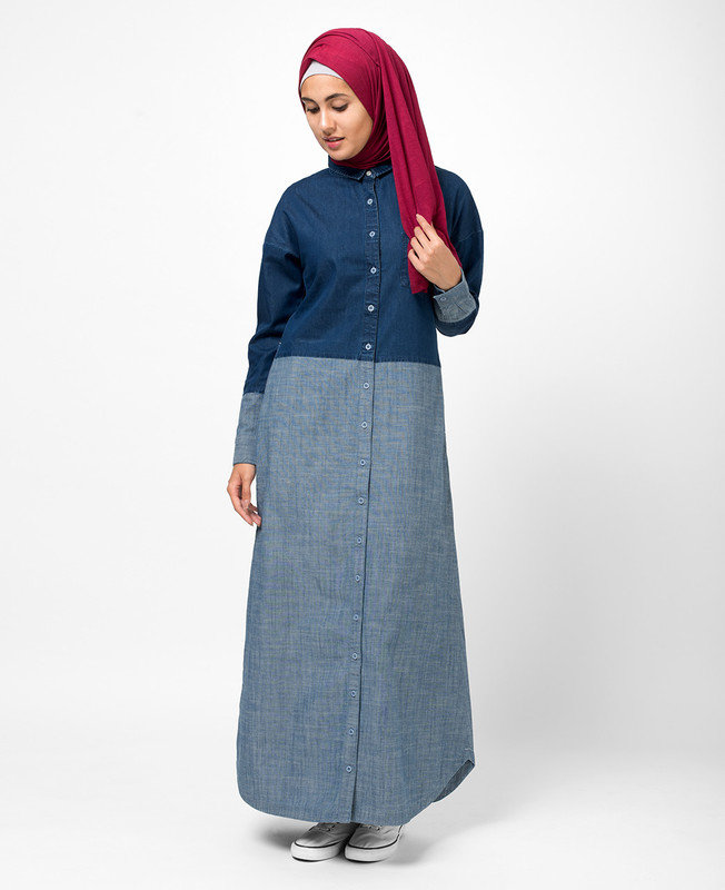 Fine Denim Shirt Abaya