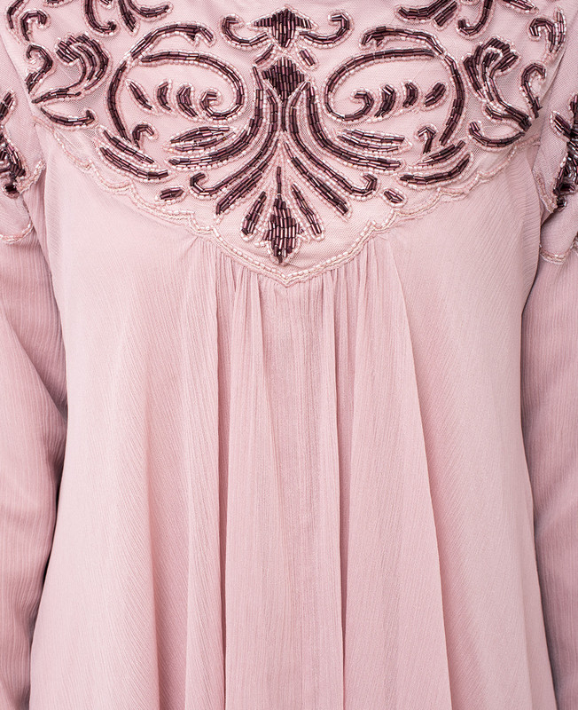 Pale Mauve Hand Embroidered Gown