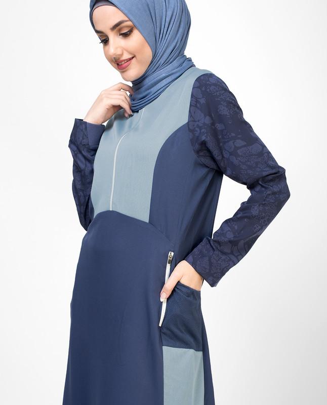 Navy Knit Print Jilbab