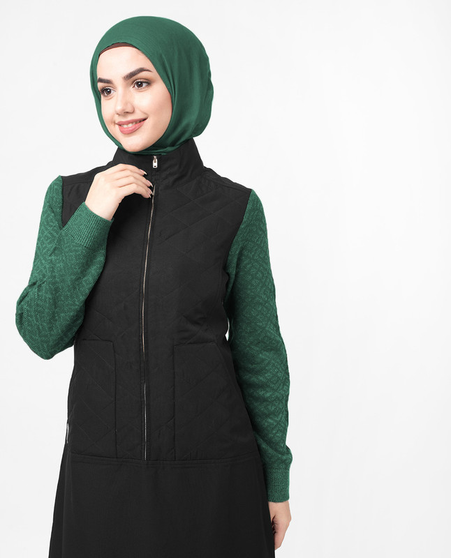 Knitted Sweater Front Zip Jilbab