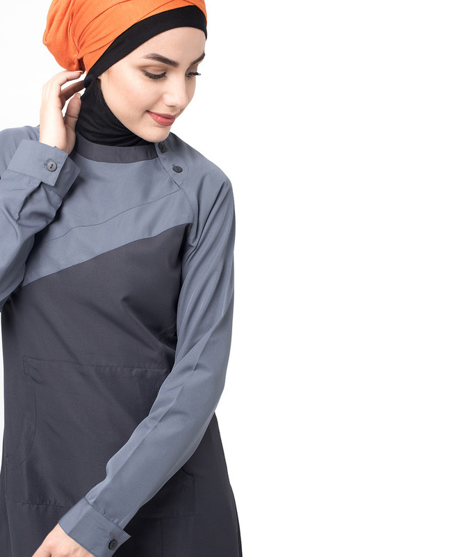 Button Neck Grey and Off Black Jilbab