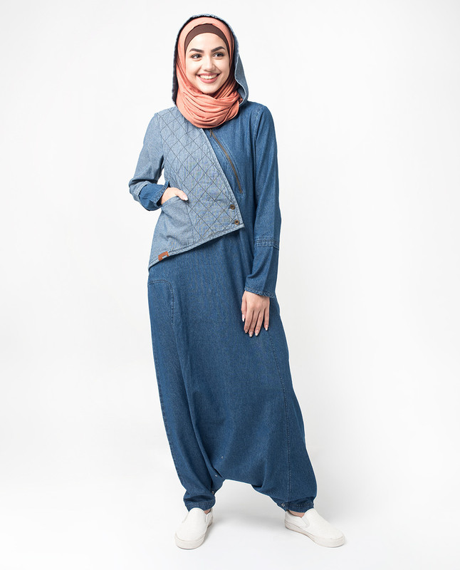 Hooded Quilted Denim Jilbab