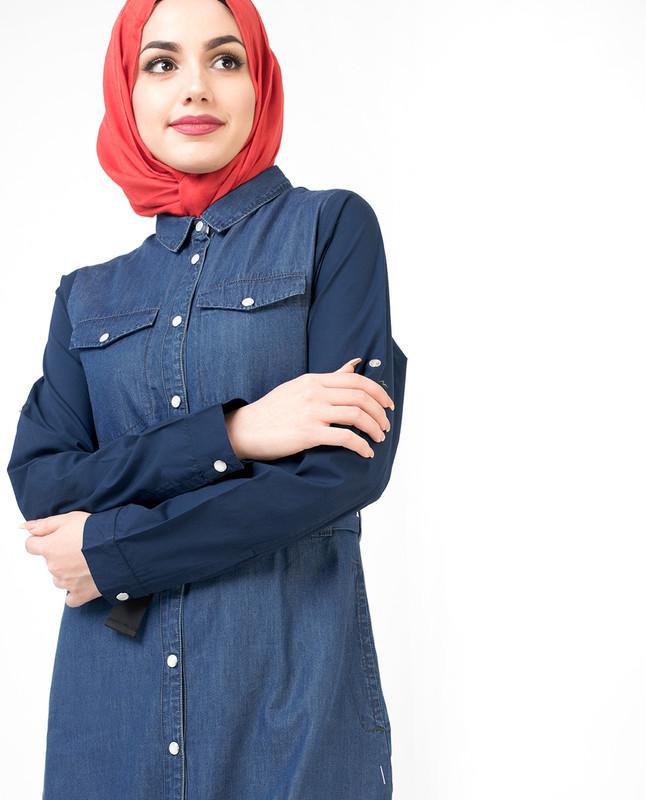 Fully Buttoned Front Open Denim Jilbab
