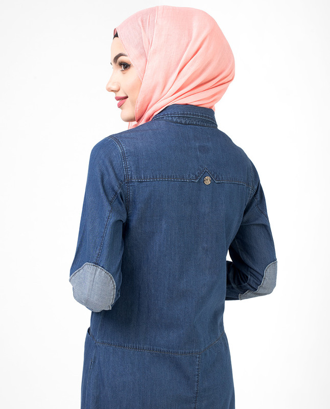 Full Front Open Fine Denim Jilbab