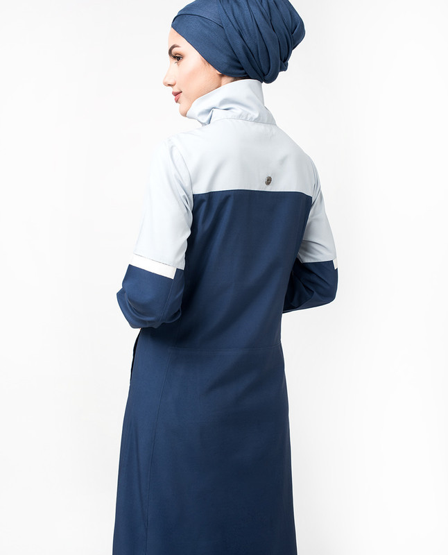 Blue Zip Up Neck Detail Jilbab