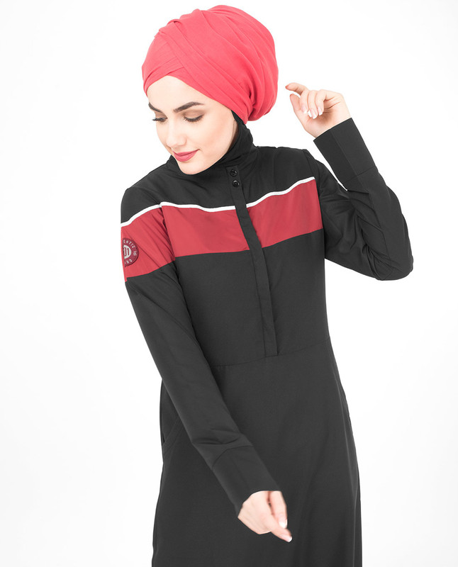 Button Down Smart Black Jilbab