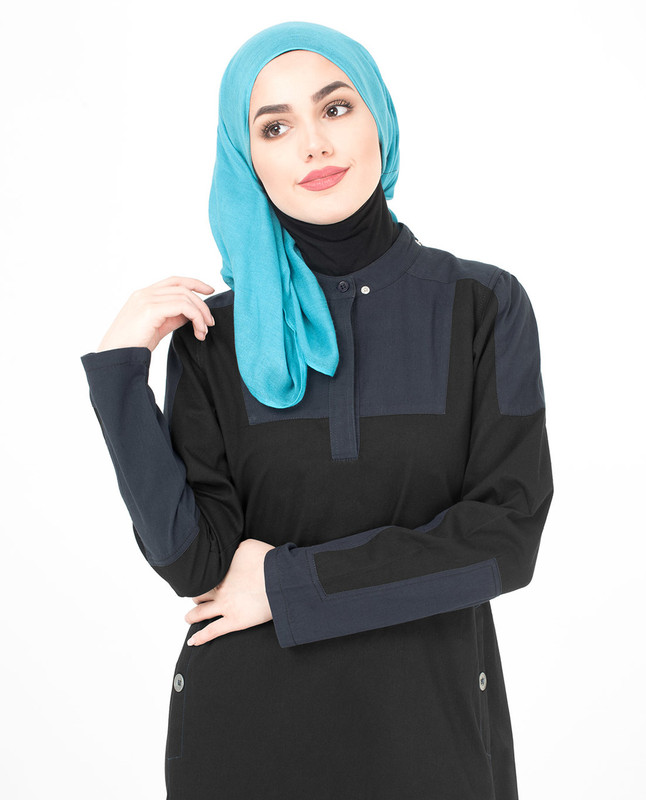 Black and blue jilbab abaya