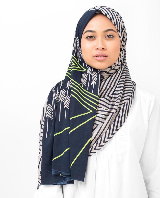 Navy Ziz Zag Viscose Jersey Hijab