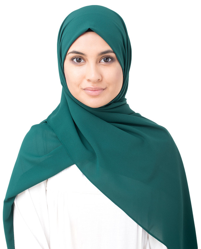 June Bug Green Poly Georgette Scarf