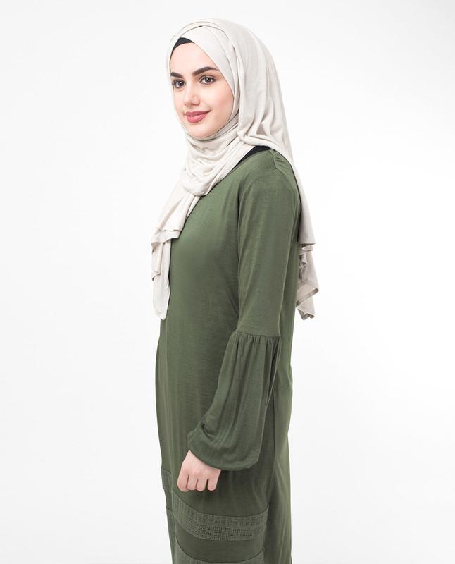 Green Lace & Tassel Modest Top