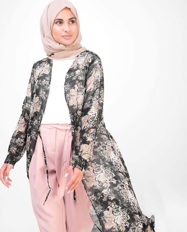 Long Black Floral Outerwear