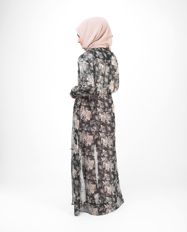 Long Black Floral Outerwear