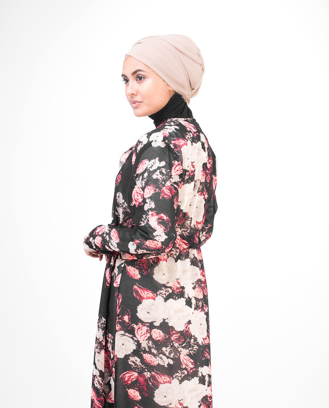 Long Black Smudged Floral Outerwear