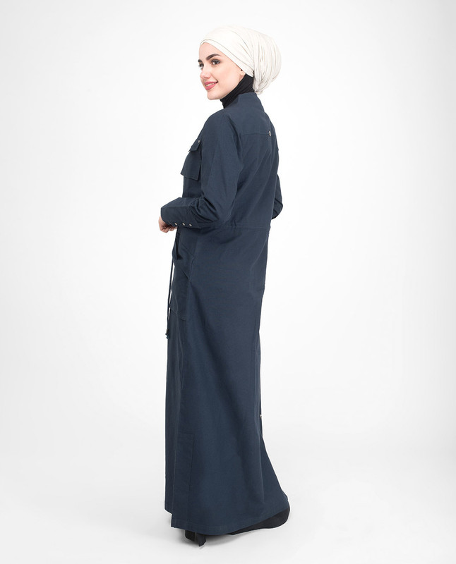 Front Open waist draw abaya
