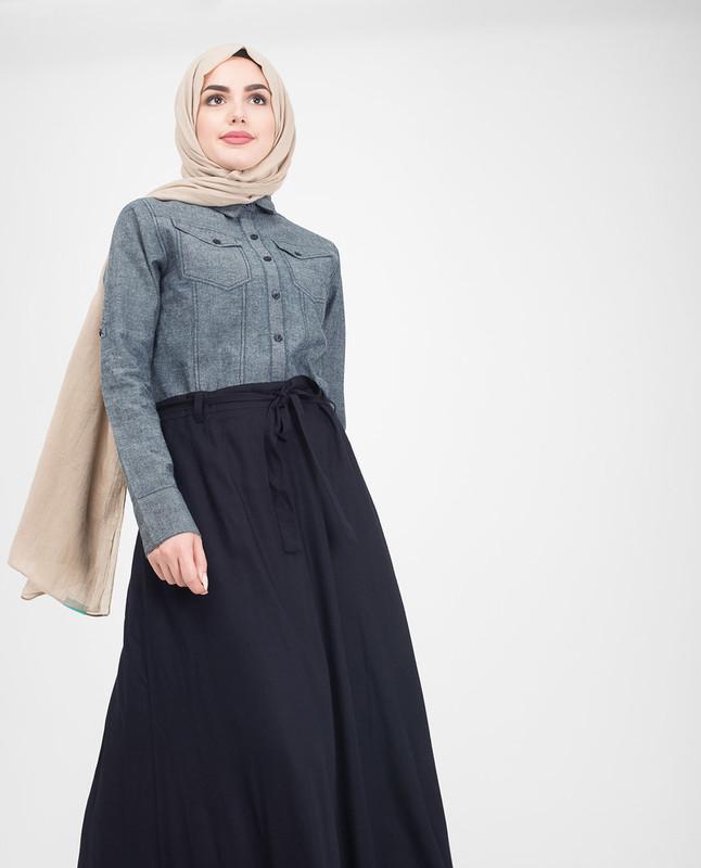 Blue skirt jilbab abaya