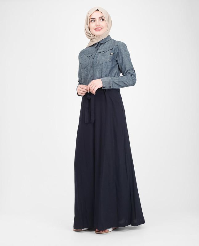 Flared skirt blue jilbab