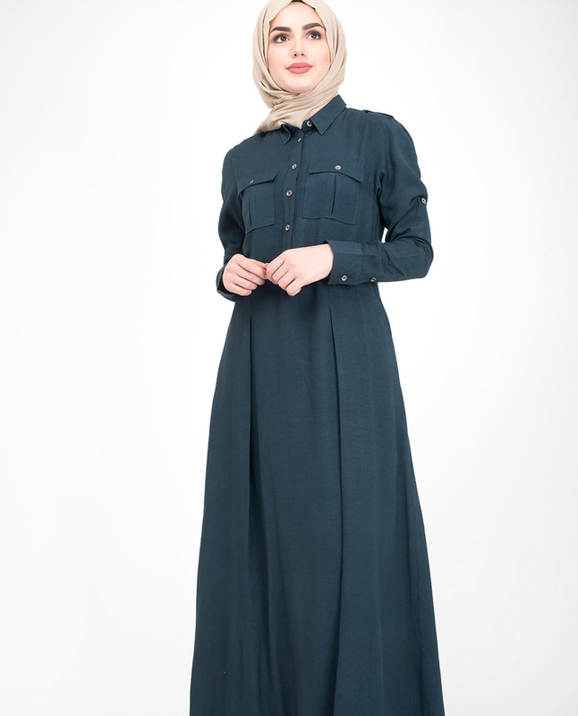 Navy pleated abaya jilbab