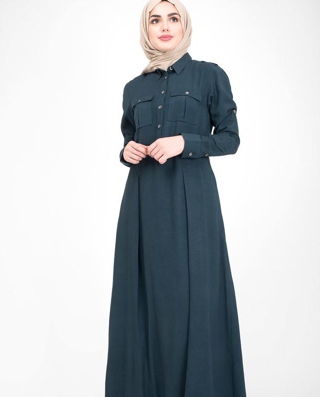 Navy pleated abaya jilbab