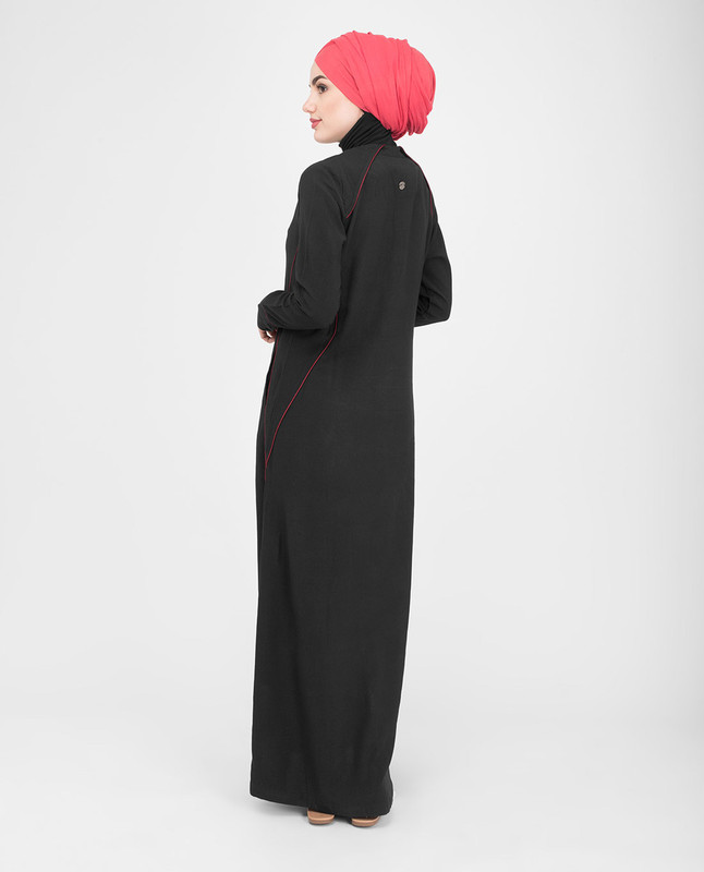 Side pockets black jilbab abaya
