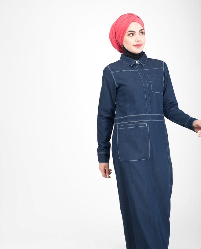 Buttoned denim jilbab abaya