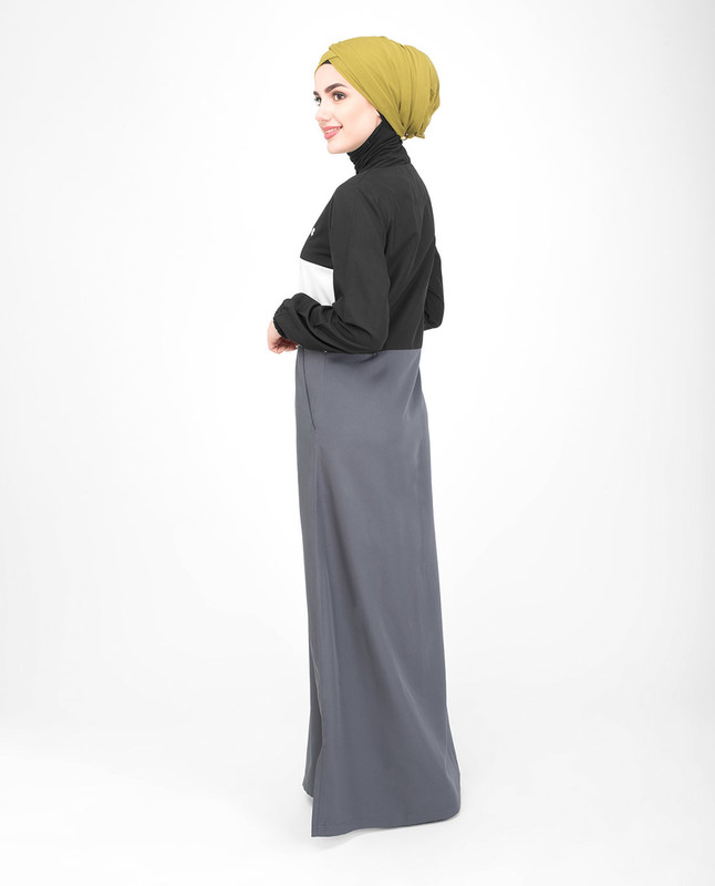 black grey abaya jilbab