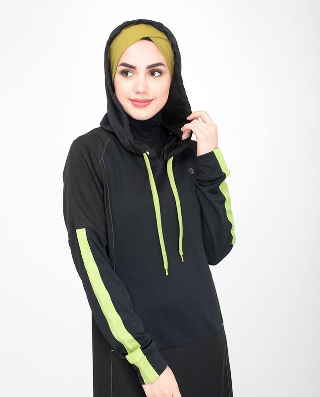 Detachable hood black jilbab