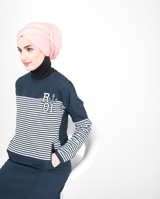 Blue striper jilbab abaya