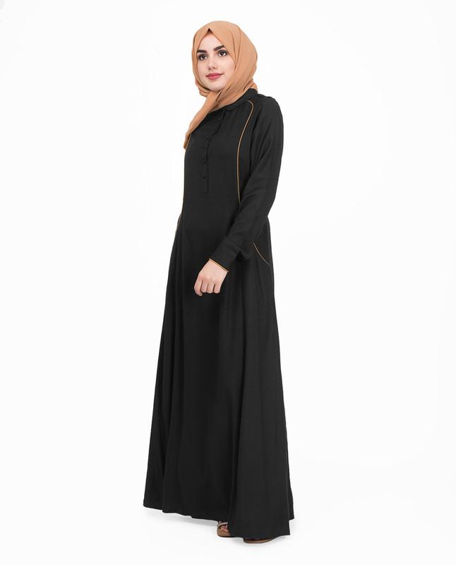 Black front open abaya jilbab