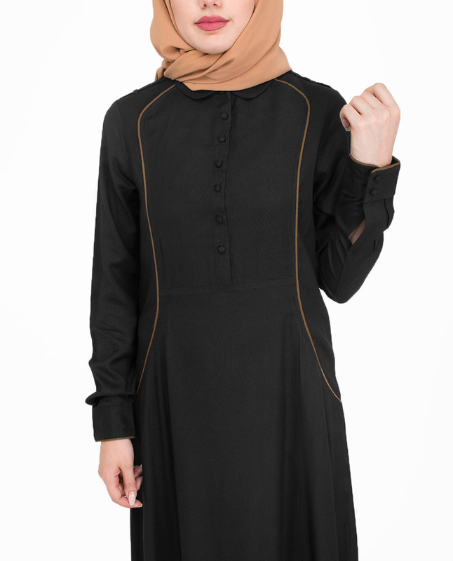 Fabric button black abaya jilbab