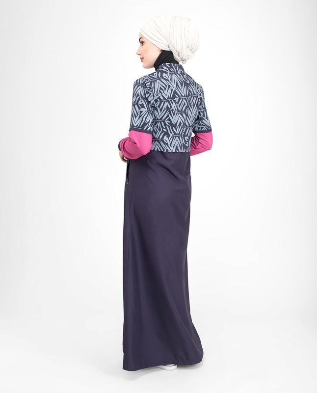 Purple printed jilbab abaya