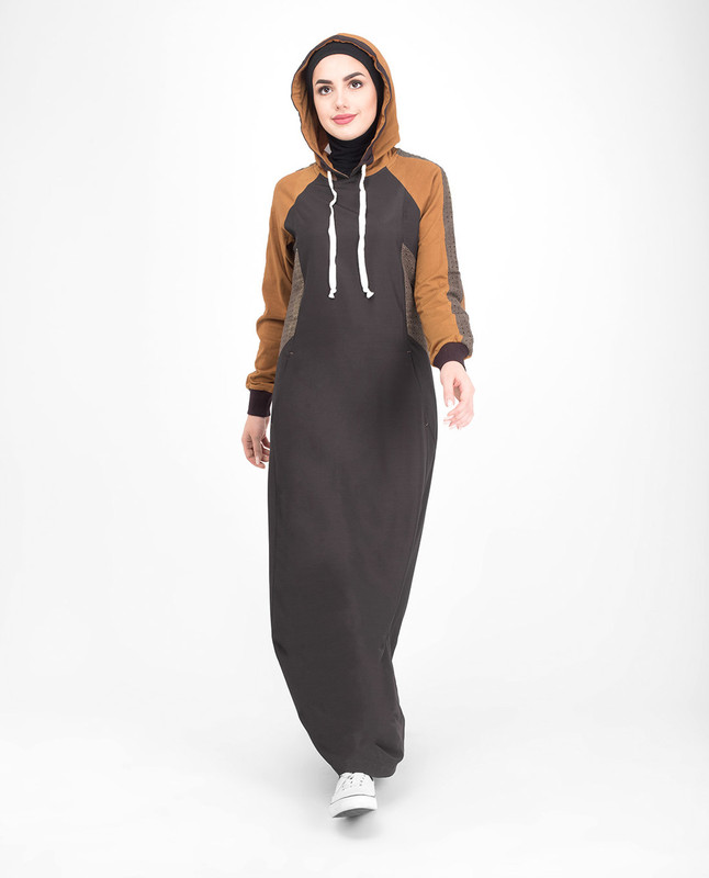 Casual hooded brown jilbab abaya