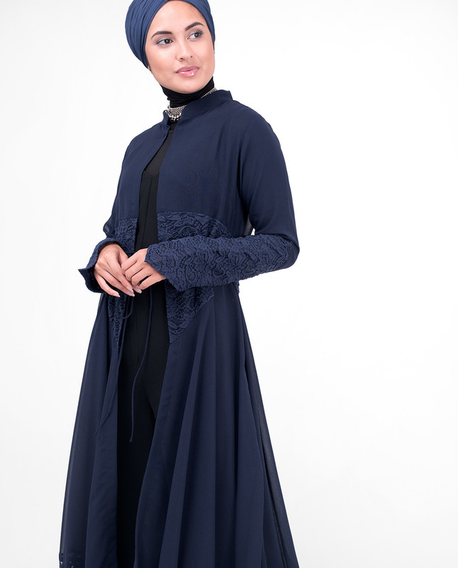 Long Navy Elegant Lace Outerwear