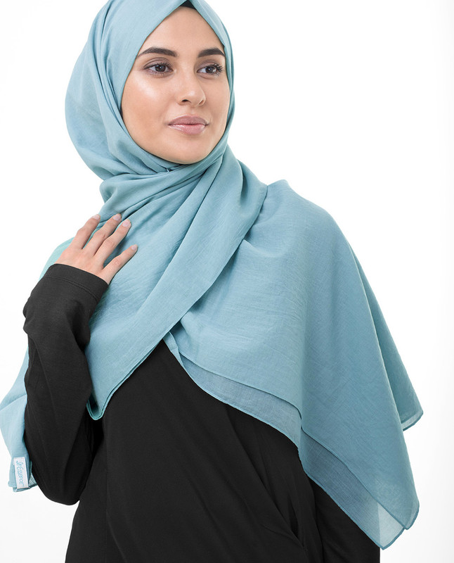 Sky Blue Cotton Voile Scarf