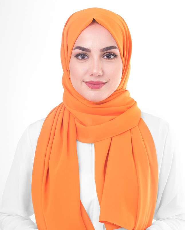 Orange Pepper Poly Georgette Scarf