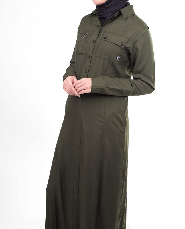 Green belted jilbab abaya