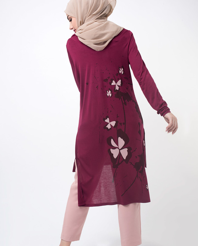 Maroon Floral Print Modest Top