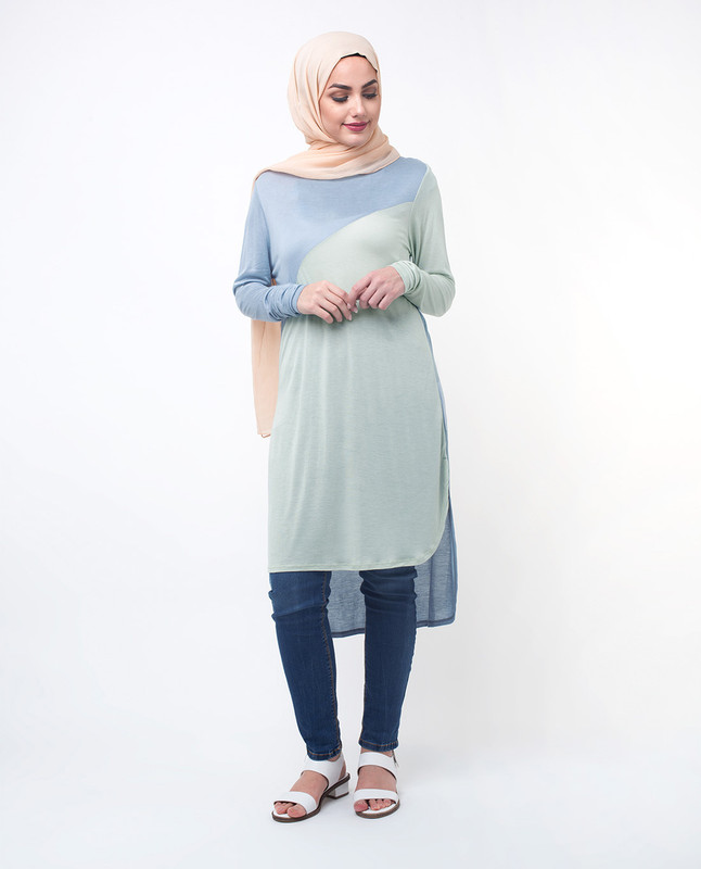 Blue & Green Colour Blocking Modest Top