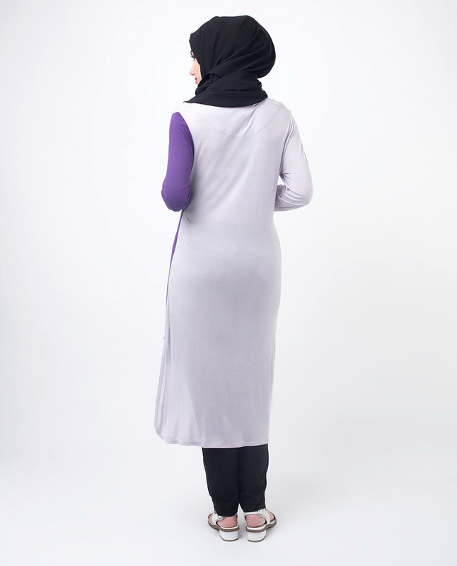 Purple & Lilac Colour Blocking Modest Top