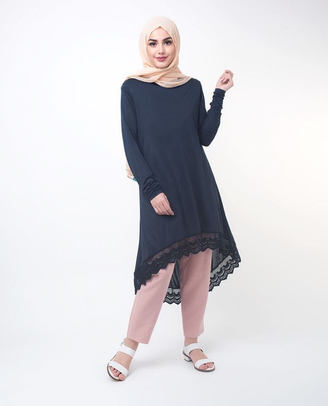 Navy Lace Dipped Hem Modest Top