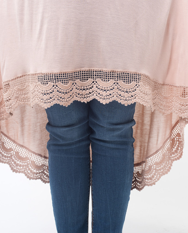 Peach Lace Dipped Hem Modest Top
