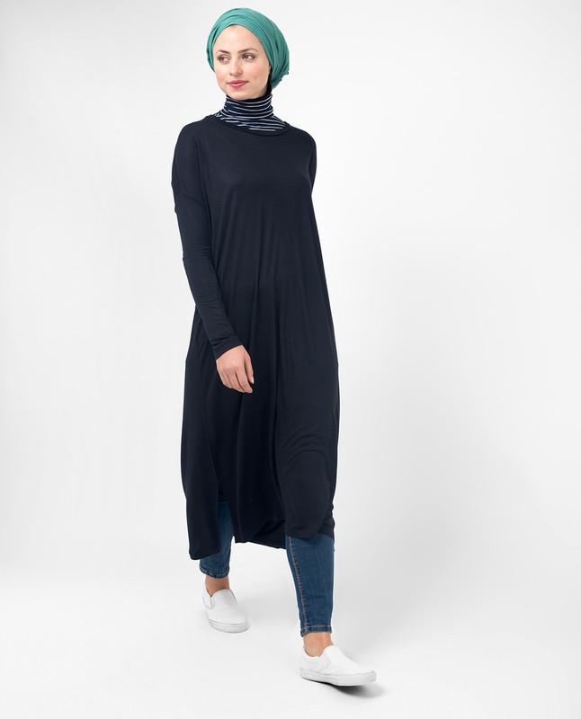 Modest women's black clothing tunics, tops