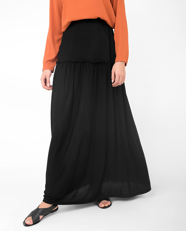 Full Length Black Flared Skirt