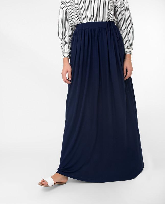Full Length Navy Flared Skirt
