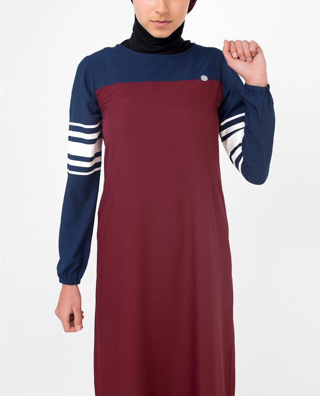 Red & Navy Stripe Print Jilbab