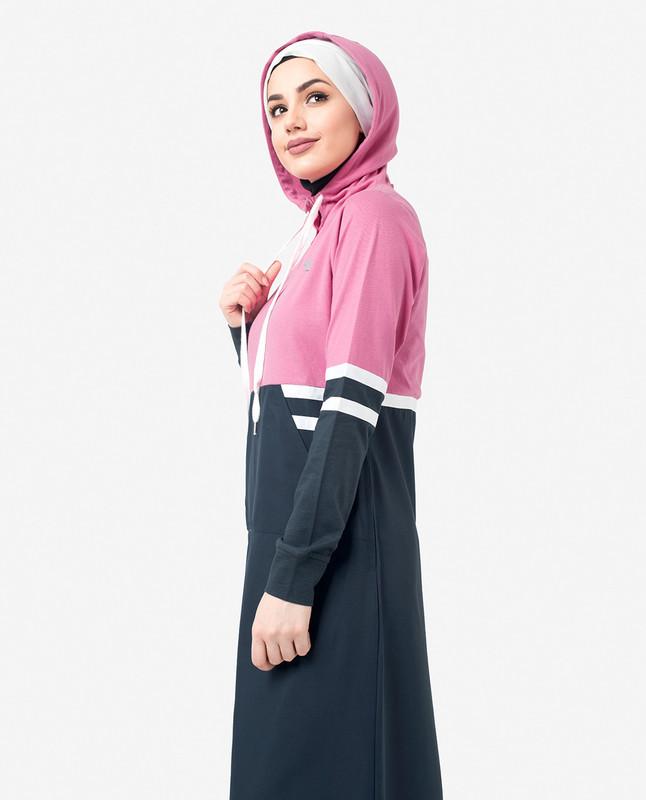 Pink & Navy Hooded Print Jilbab