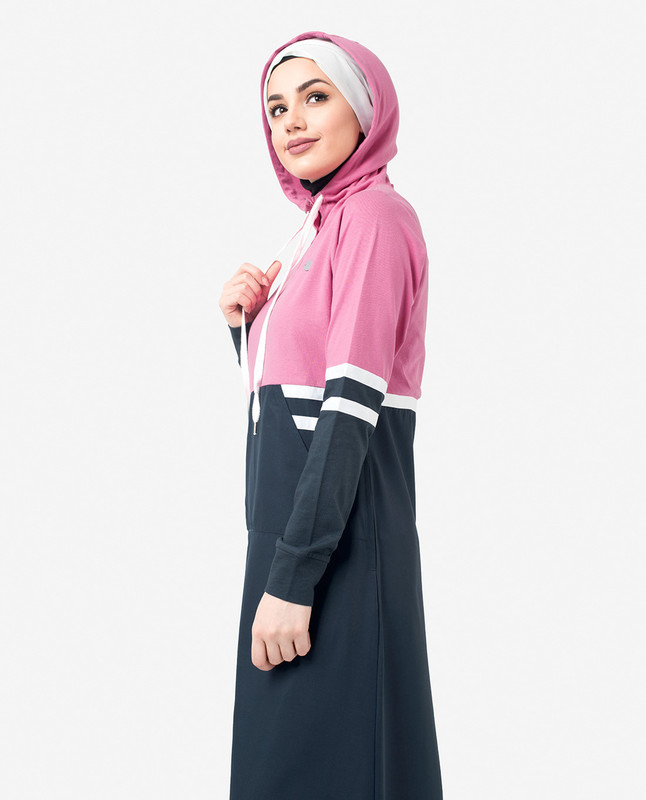 Pink & Navy Hooded Print Jilbab