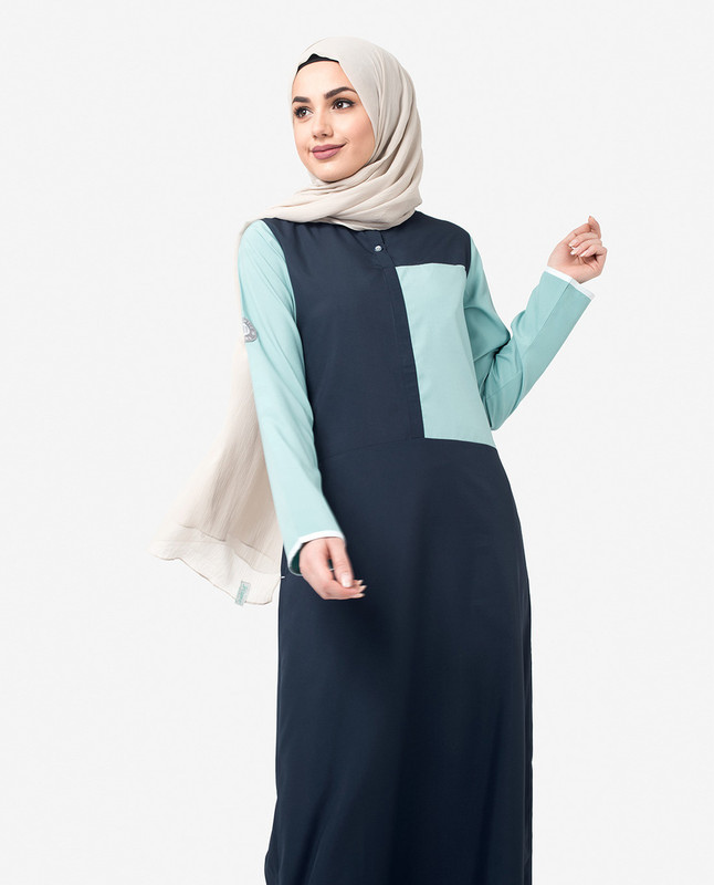 Navy & Blue Colour Blocking Jilbab