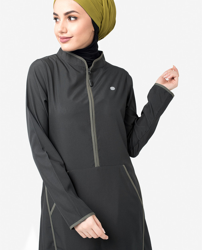 Contrast Binding Black Sporty Jilbab
