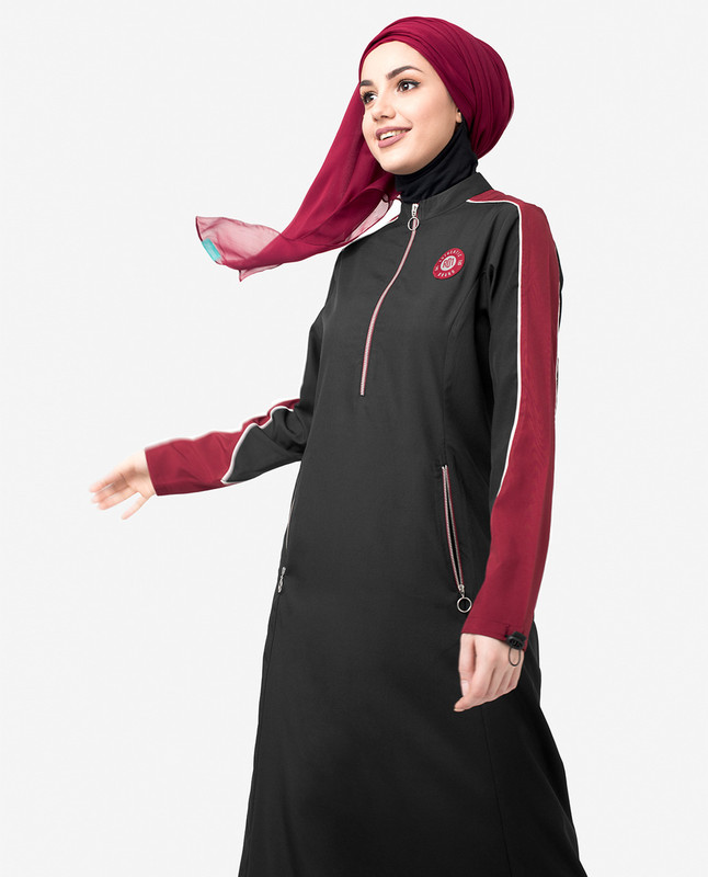 Black & Red Contrast Zipper Jilbab