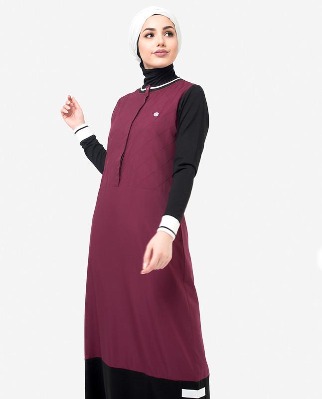 Black & Berry Contrast Jilbab